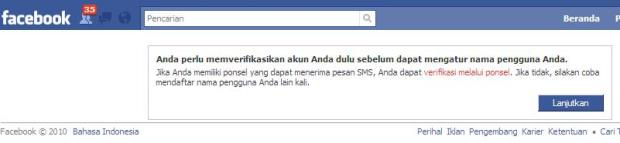Verifikasi ponsel di facebook
