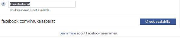 Jika username tidak tersedia