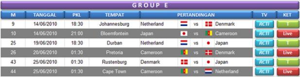 Jadwal Grup E World Cup 2010 Afsel